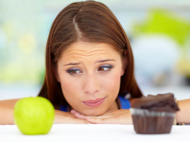 Woman looking at foods