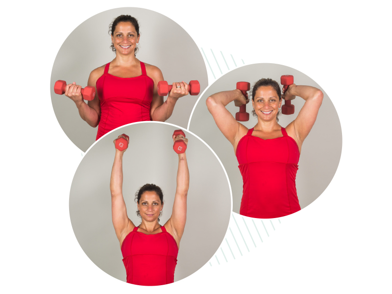 Bicep curl into tricep extension