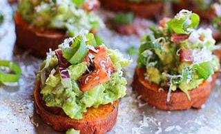 Roasted Sweet Potato Rounds with Guacamole